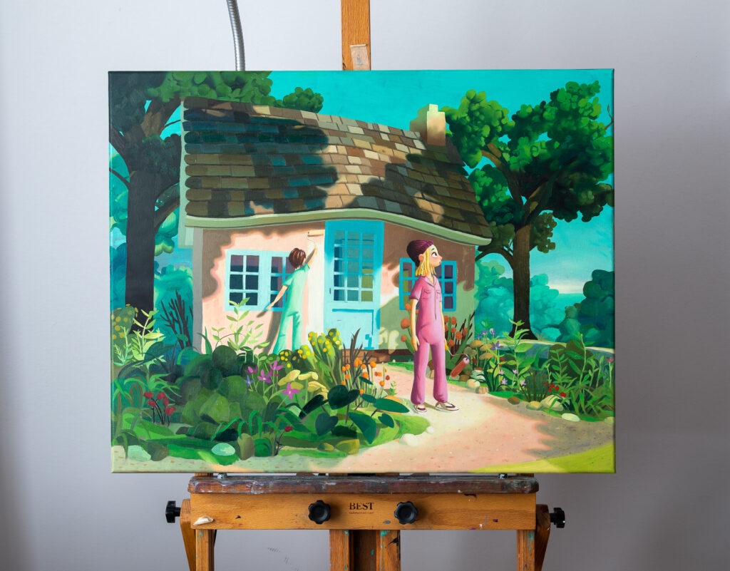 Pink house finished oil painting on the easel